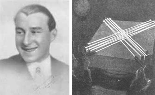 A la izq. Cuando el médium Rudi Schneider tenía once años, sus padres lo vieron en estado de trance, expresándose bajo la personalidad llamada «Olga». A la der. Osty diseñó un control de luz infrarroja para obtener fotografías automáticamente en el momento del «movimiento paranormal» del medium Schneider
