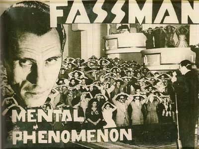 Anuncio publicitario de una representación teatral de hipnosis e ilusionismo, a mediados de los años cuarenta.