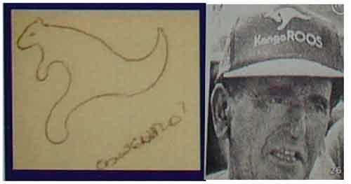 A la izquierda, dibujo realizado por Marcelo Acquistapace con la figura de un canguro; según él relacionado con la aparición de María Victoria Williams. A la derecha, foto del transeúnte que encontró su cadáver, con un dibujo casi idéntico en su gorro.