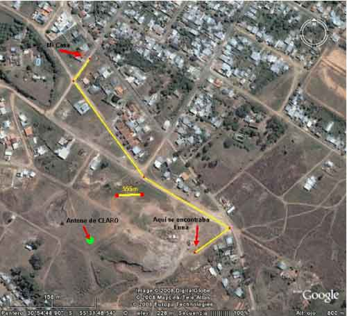 Mapa aéreo obtenido mediante Google Earth, donde pueden confirmarse los datos aportados para llegar hasta el lugar donde se encontraba Luna.