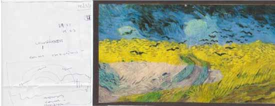 Trigal con Cuervos, pintura del pintor holandés Vincent Van Gogh, junto al dibujo que realizó el psíquico, mientras preguntaba: ¿Cómo se escribe Van Gogh?