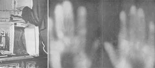 """Las fotografías de Du Bourg de Bozas donde las manos de ciertos sujetos psíquicos emitían un """"tubo de fuerza fluídica""""."""