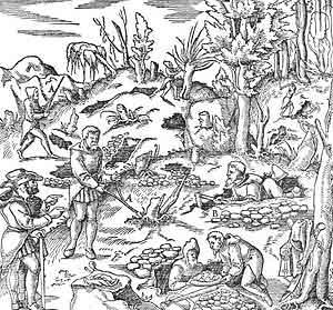 Grabado publicado en De re metallica de 1556. Demuestra la convivencia entre radiestesistas y excavadores.