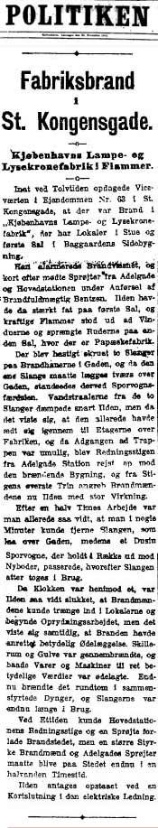 El sábado 25 de noviembre el diario Politiken publicó las noticias de un gran incendio en Copenhague, una fábrica de lámparas y arañas de Copenhague, justo como lo describió Indridasson en mientras estaba en una sesión espiritista en Reykjavik.