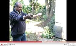 Demostración sobre el uso de la varita por parte de Roberto Blanc, en el patio de su casa, en Sierra de la Ventana (ver YouTube en http://www.youtube.com/watch?v=k45X7WbBkmw)