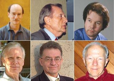 De izq. a derecha, arriba: Los defensores Dean Radin, Stanley Krippner, y Chris Carter. Los refutadores, abajo: James Alcock, Chris French, y Ray Hyman.