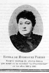 Estela Guerineau fue una médium de efectos físicos, que muchos compararon con Eusapia Paladino. En 1880, su esposo Modesto Rodríguez Freire, fue director del periódico El Correo Español (Fuente revista La Fraternidad. Vol. 14, N° 196, Junio de 1915, p. 12).