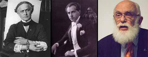 Muchas personas saben de los desafíos públicos anti-espiritistas de Harry Houdini (izq.) para desenmascarar a médiums fraudulentos. Joseph Dunninger (centro) fue sucesor de Houdini como refutador público de los espiritistas. Actualmente el último sucesor en este linaje es James (El Asombroso) Randi (der.).