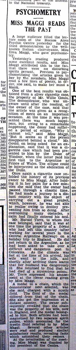 Recorte del diario Buenos Aires Herald del 12 de agosto de 1938 (p. 8) relatando una demostración de psicometría de Irma Maggi en el Buenos Aires Psychic Centre.
