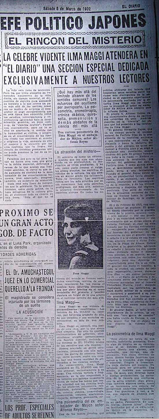 Primera aparición de la sección El Rincón del Misterio, escrita por Irma Maggi en El Diario, 5 de marzo de 1932.