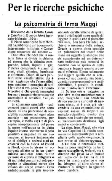 Primera página del artículo sobre Irma Maggi aparecido en la revista Mondo Occulto de mayo-junio de 1923 (Gentileza de Massimo Biondi).