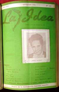 Irma Maggi en la portada de la revista espiritista La Idea (Septiembre 1953).