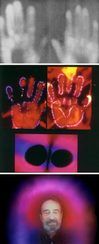 Se han creado varias tecnolog&iacute;as que supuestamente permiten ver el aura.  Arriba, efluviograf&iacute;a de Raoul Montandon (1927), en el centro fotograf&iacute;a del efecto Kirlian (1939/1966), y abajo imagen obtenida mediante <I>Aura Video Sistem</I> (2004).