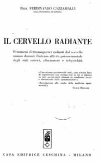 Primera página del libro Il cervello radiante, donde su autor describe los experimentos en los que intervino Irma Maggi (Foto gentileza de Massimo Biondi).