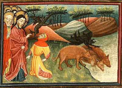 Jes�s exorciza del cuerpo de un hombre al colectivo demon�aco identificado como Legi�n. Los demonios, expulsados del cuerpo del feligr�s, son encerrados en una manada de cerdos que penetrados por las entidades se arrojan al vac�o desde un acantilado.