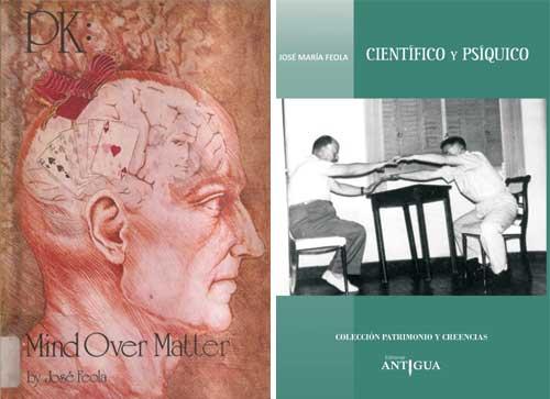 Portadas de sus dos libros PK: Mind over Matter y Científico y Psíquico