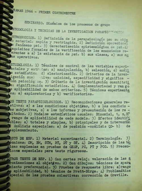 Programa de la materia Historia de la Ciencia, dictada por Armando Asti Vera en la facultad de filosofía y letras de Buenos Aires, en 1965.