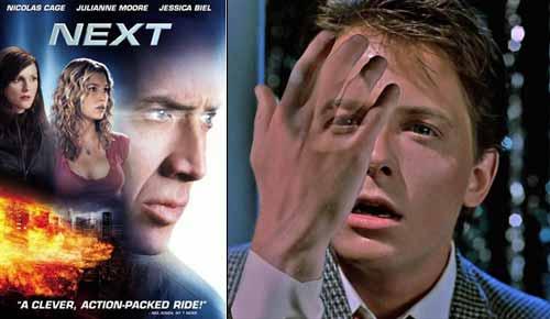 En el film Next [El Vidente] Cris Johnson (Nicolas Cage) tiene la capacidad de ver su propio futuro, siempre y cuando sólo le afecte a él y no sean más de dos minutos y en Back to the Future [Volver al Futuro] Marty McFly (Michael Fox) literalmente se disuelve si no logra que sus futuros padres se den un beso en un baile escolar. Si un percipiente, como Cris Johnson precogniza un suceso que tiene la intención de cambiar, y si más tarde lo cambia, entonces entra en conflicto con la paradoja. La paradoja de Marty McFly, en cambio, involucra poner en riesgo su propia existencia. Taylor plantea el Principio de Intencionalidad, el cual dice que no podemos precognizar un suceso, si tenemos positivamente la intención de cambiarlo.
