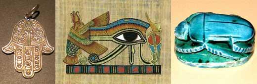 La mano de Fátima (hija del Profeta Muhammad) (izq.), un amuleto que concede a los lugares o personas la protección contra el mal de ojo. Los egipcios creían en símbolos de la vida, por ejemplo, el Ojo de Horus (centro), o el escarabajo (der.).