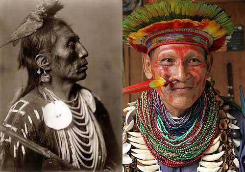 Los Xavante (der.) en Brasil practican el chamanismo como sus antepasados sin alterar una tradición de cientos de años, como los Chickasaw en los Estados Unidos (izq.). Del mismo modo, otras culturas indígenas americanas, del Norte y del Sur, conviven en un mosaico de ecosistemas, y comparten su tierra con una variedad de animales salvajes.