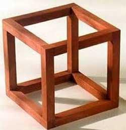 """El Cubo de Necker es una ilusión óptica publicada creada por el cristalógrafo suizo Louis Albert Necker en 1832. En este efecto cada parte de la imagen es ambigua por sí misma, hasta que el sistema perceptivo visual """"selecciona"""" una interpretación (ver Einhäuser et al., 2004)."""