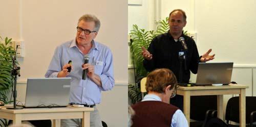 Eberhard Bauer (izq.) del IGPP y Wim Kramer (der.) del HJBF durante sus exposiciones.