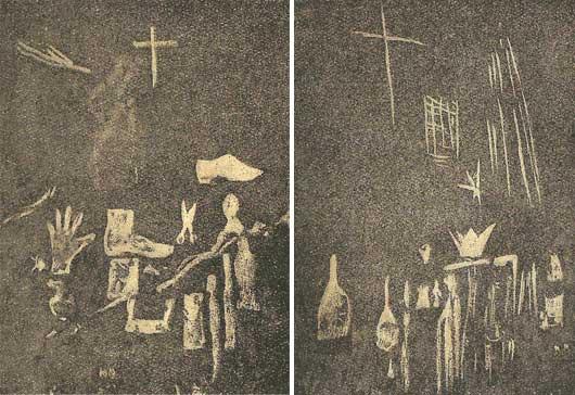 Grabados aparecidos en las paredes de la casa de Teresa Esquius, atribuidos al espíritu de Teresina.