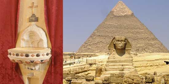 """Se emplearon pequeñas muestras de arena, tomadas de la base de la pirámide de Keops en Egipto (derecha), y el mismo número de muestras de una fuente de agua a la que los devotos de las apariciones marianas atribuyen propiedades curativas, es decir """"agua bendecida""""', extraída de un santuario en Buenos Aires, Argentina (izquierda)."""