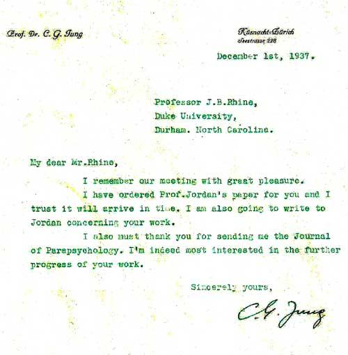 Dos cartas de Jung a Rhine, y Rhine a Jung, que dan testimonio del intercambio de correspondencia entre ambos pensadores. Rhine recuerda un almuerzo durante una corta visita New York en un ruidoso restaurant de New York.