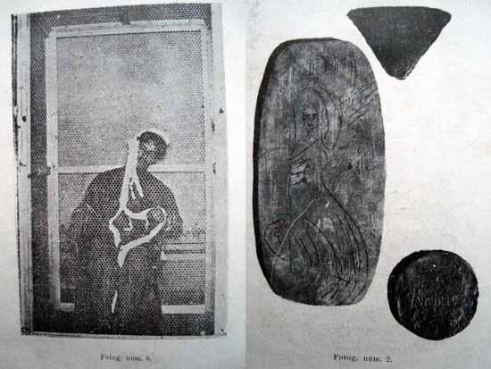 Osvaldo Fidanza produciendo un fen&oacute;meno ectoplasm&aacute;tico (izq.). Objetos materializados por el m&eacute;dium (fotograf&iacute;a-prueba directa) (der.) [Fuente: <I>Elocuencia de los Hechos</I> (Serie, 1912)].