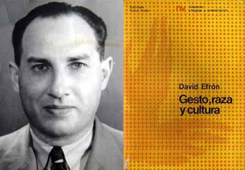 David Efrón (1904-1974) egresó de la facultad de filosofía y letras de Buenos Aires y posteriormente se graduó como doctor en Ciencias Sociales en la Universidad de Columbia. Su tesis, que publicó en 1941, fue prologada por su maestro, el prestigioso antropólogo Franz Boas, considerada un clásico de la semiótica moderna y fue traducida a varios idiomas.