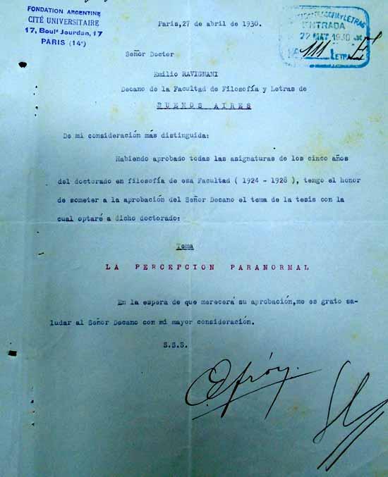 Aprobación del tema de su tesis La Percepción Paranormal (Efrón, 1930c) del legajo de David Efrón en la Universidad de Buenos Aires. Sin embargo, hasta ahora no pudo ser encontrada.