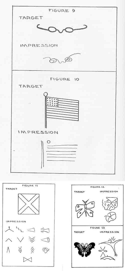 Muestras de coincidencias y diferencias (simbòlicas y reales) entre los objetivos dibujados y las impresiones mentales de los percipientes.