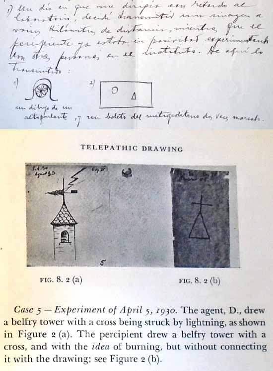 Uno de los muchos dibujos publicados por René Warcollier en la Colección Warcollier-Efrón 1929 y usados por el agente D [David] durante una serie de experiencias para examinar la telepatía cualitativa.