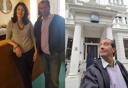 Fachada del College of Psychic Studies (CSP) en Londres (der.) junto a su Directora Principal Gill Matini (izq.) en Londres.