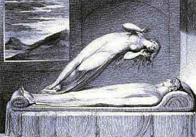 En la teoría espiritista, el espíritu está rodeado por el periespíritu, que en cierto modo es su órgano de expresión; es una substancia semimaterial que está suspendida en el espacio, y que puede adquirir diversos aspectos.