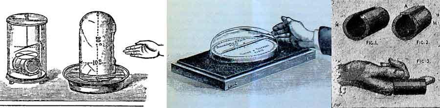 """Rebaudi hace traer de Europa dispositivos """"objetivos"""" para medir o fotografiar fluidos magnéticos. Algunos de éstos son el Biómetro de Baraduc (izq.), el Sthenómetro del Joire (centro), y el Hipnoscopio de Ochorowicz (der.)."""