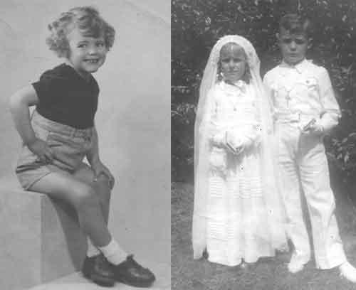 A los tres años, (izq.) y con una de sus primas (Teresita) en el sacramento de la comunión  (der.)