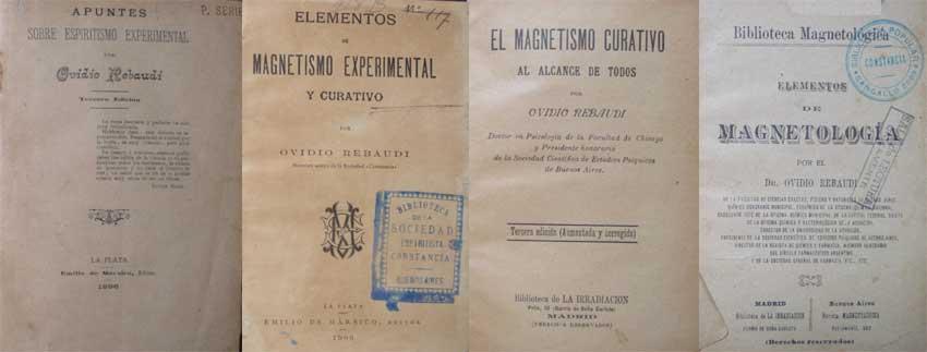 Portadas de los principales obras de Rebaudi y la magnetología.