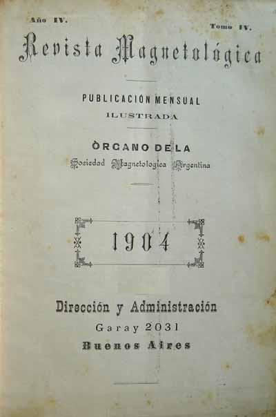 Portada de Revista Magnetológica [Argentina] entre 1897 y 1904.