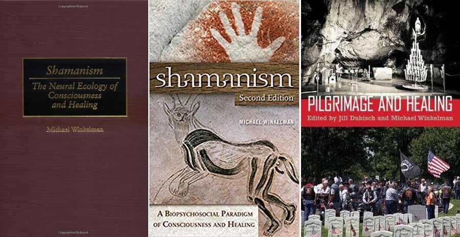 Portadas de los principales obras sobre chamanismo escritas por Michael Winkelman.