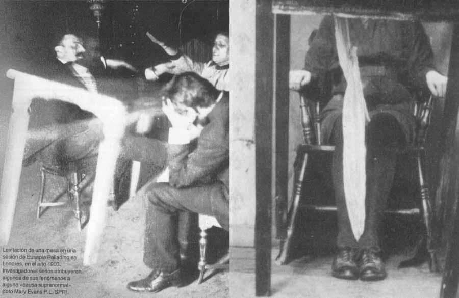 """De acuerdo a Crawford las levitaciones de la mesa eran realizadas por una """"palanca ectoplásmica"""" que salía del cuerpo de la médium basado en que el peso de la médium aumentaba de manera proporcional al peso de la mesa. Pero cuando no había cambio de peso, la palanca tenía un punto de apoyo en el suelo. Su interés en los procesos mecánicos lo llevaron a especular en las características de las levitaciones, de modo que su modelo mecánico fue confirmado a través de las mediciones de peso y otras observaciones."""