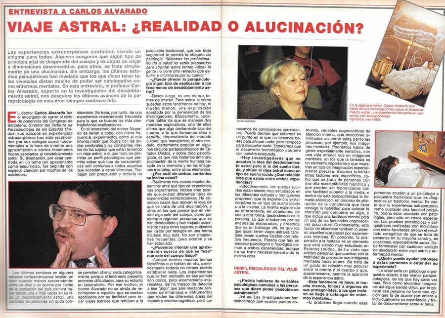Entrevista a Carlos Alvarado en revista Más Allá de Ciencia en 1993 a propósito de sus estudios sobre experiencias fuera de cuerpo.