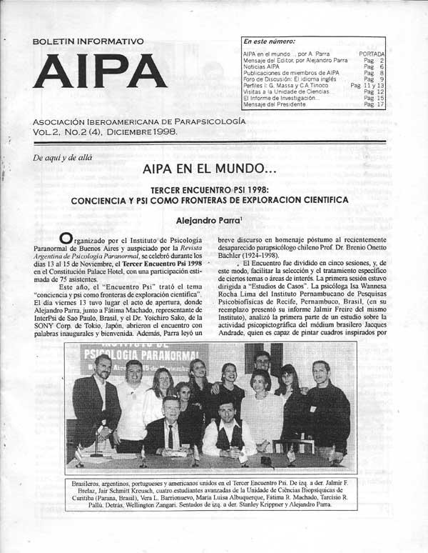 Portada de uno de los números del Boletín AIPA publicado por la Asociación Iberoamericana de Parapsicología.
